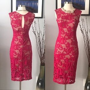 MARIA B Floral Illusion Lace Dress Fuschia Pink M